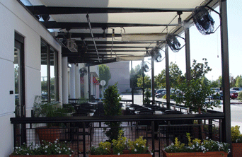 restaurant california pizza patio misting system Mist Works cools off with fans
