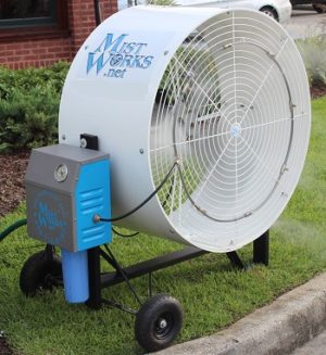 High Pressure portable Blizzard misting fan with mist pump Mist Works