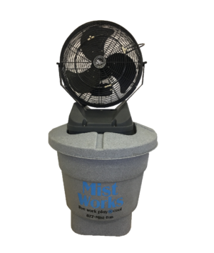 "18"" High Pressure Misting Fan on cooler. cool off with Mist to Go by Mist Works cool off"