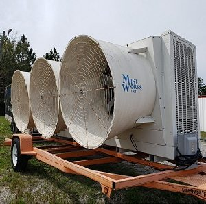 portable industrial evaporative cooler fan trailer