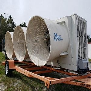 portable industrial evaporative cooler fan trailer