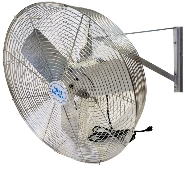 24 inch stainless steel outdoor fan high velocity basket style wall mount 1/2 hp