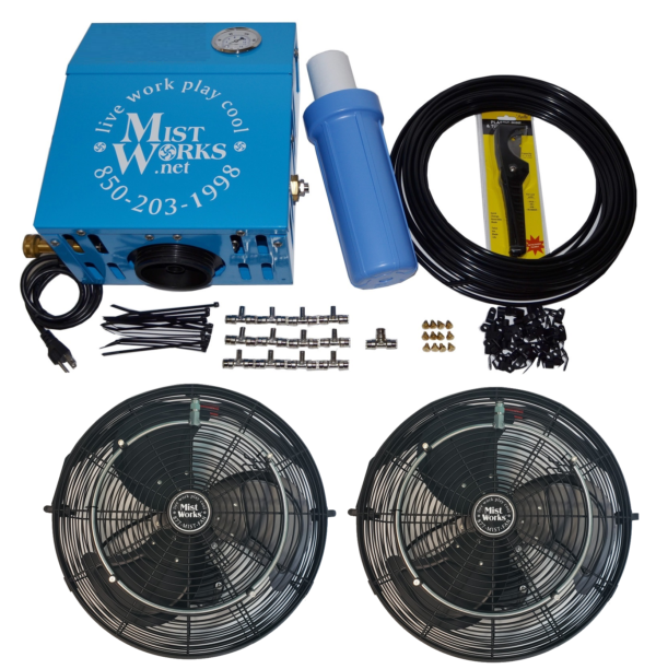 high pressure misting kit with 2 outdoor black UL fans