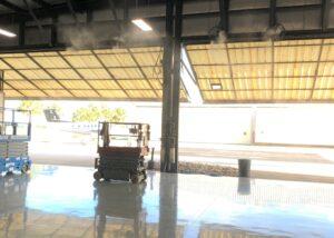 Mist Works Fans cooling Helicopter Hangar