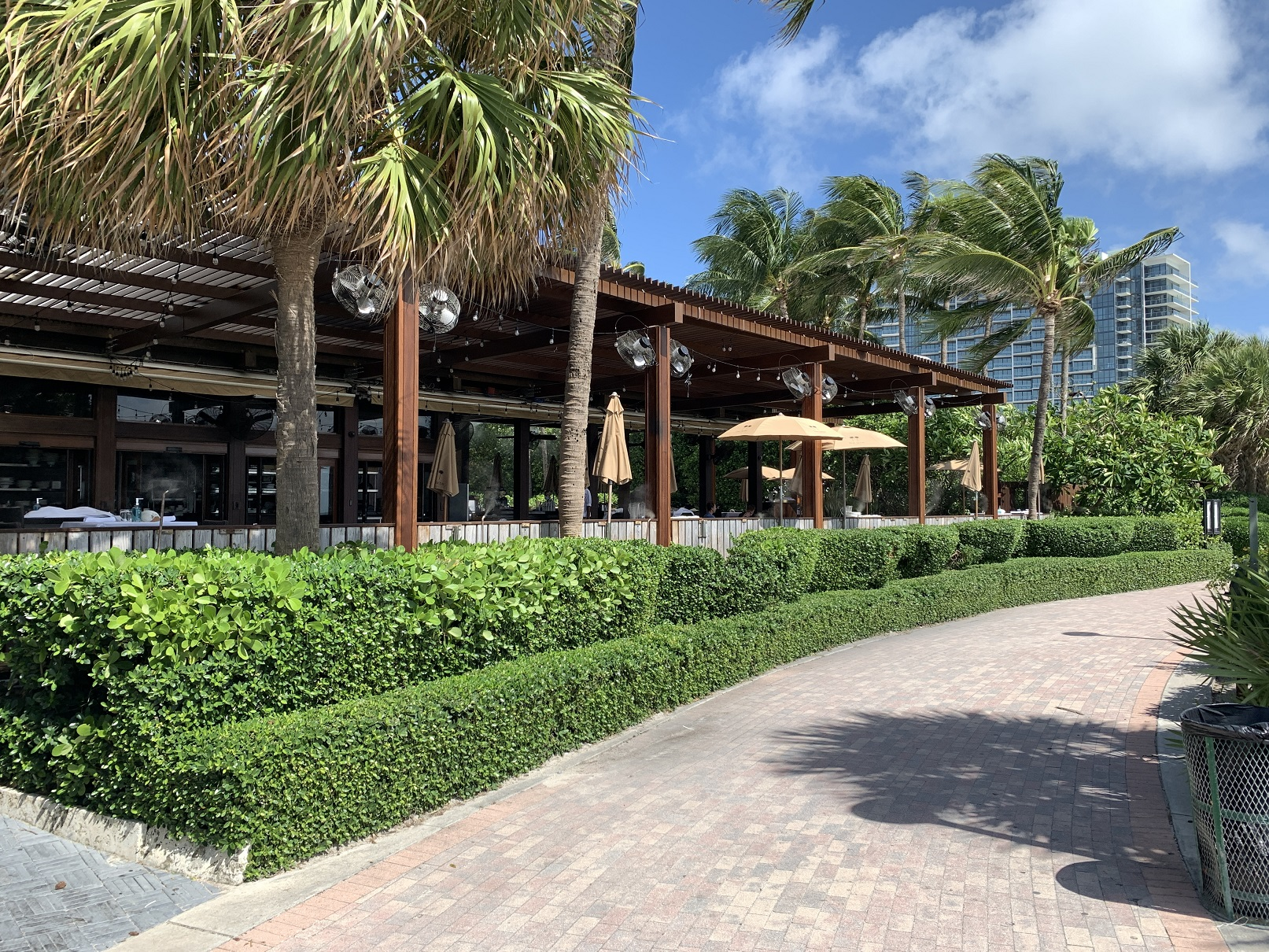 Setai Ocean Grill Restaurant Miami beach Mist Works powder coated stainless steel misting fans -outdoor fans