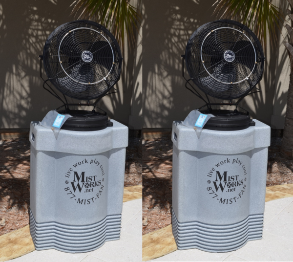 Sports Mist Jr Pair portable high pressure misting fan. Mid Pressure. 3 speed fans