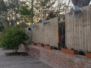 Event & Wedding Venue DeLuna Mist Works Outdoor cooling Fans in Courtyard